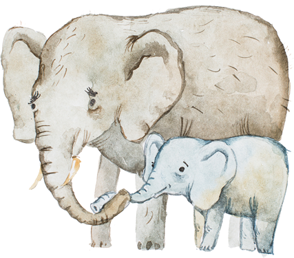 ゾウの親子のイラスト